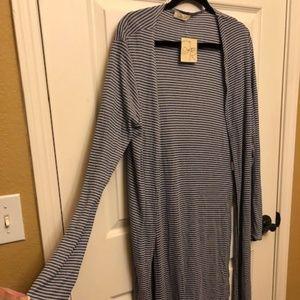 Olivia Rae Long Blue & White Striped Cardi